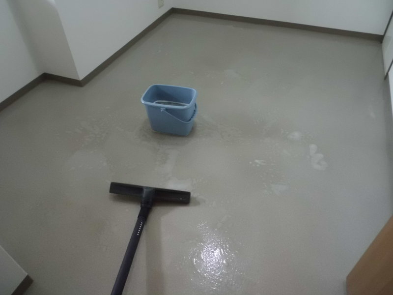 床ワックス剥離・その後シンク磨き・・時々雷雨
