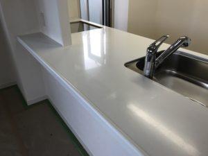 キッチン人造大理石天板の研磨後